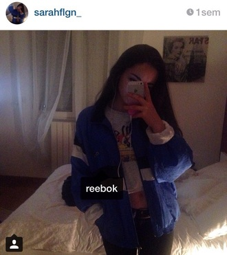 jacket reebok blue black white windbreaker