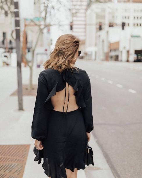 Dress Black Dress Mini Dress Boho Dress Open Back Backless