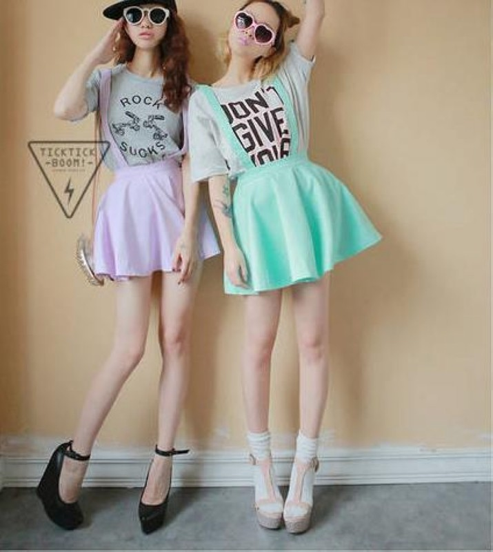 Womens New Korean Candy Color Skirt Cute Lovely Double Straps Wear Mini Dress | eBay