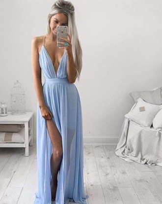 dress blue dress long v neck long dress slit