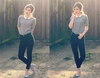 t-shirt shoes peter pan collar blouse vintage preppy back to school girly heels vintage shoes