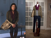 jacket,emily fields,shay mitchell,girly,pretty little liars,aria montgomery,sporty,shoes,scarf