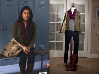 jacket emily fields shay mitchell girly pretty little liars aria montgomery sporty shoes scarf