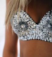 top,bralette,bra,silver,embellished top