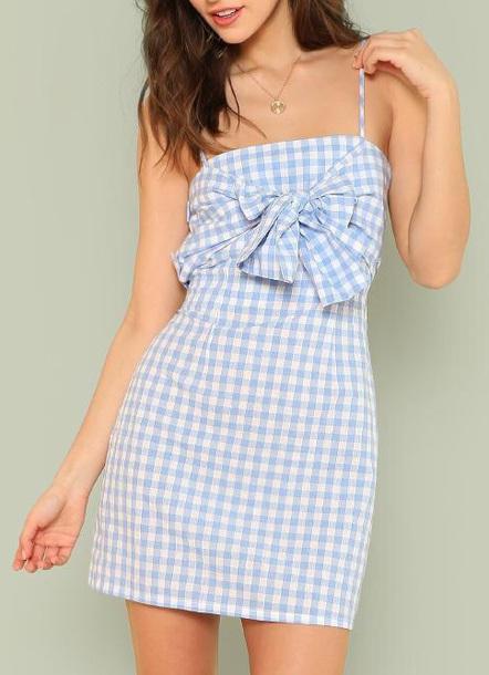 dress girly girl girly wishlist summer summer dress cute cute dress plaid plaid dress bow bow dress gingham gingham dresses blue white mini mini dress