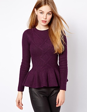 Ted Baker | Ted Baker Cable Knit Sweater with Peplum Hem at ASOS