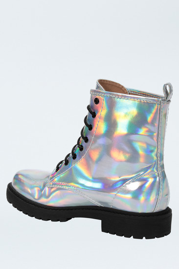 Silver metallic mirror lace up boots