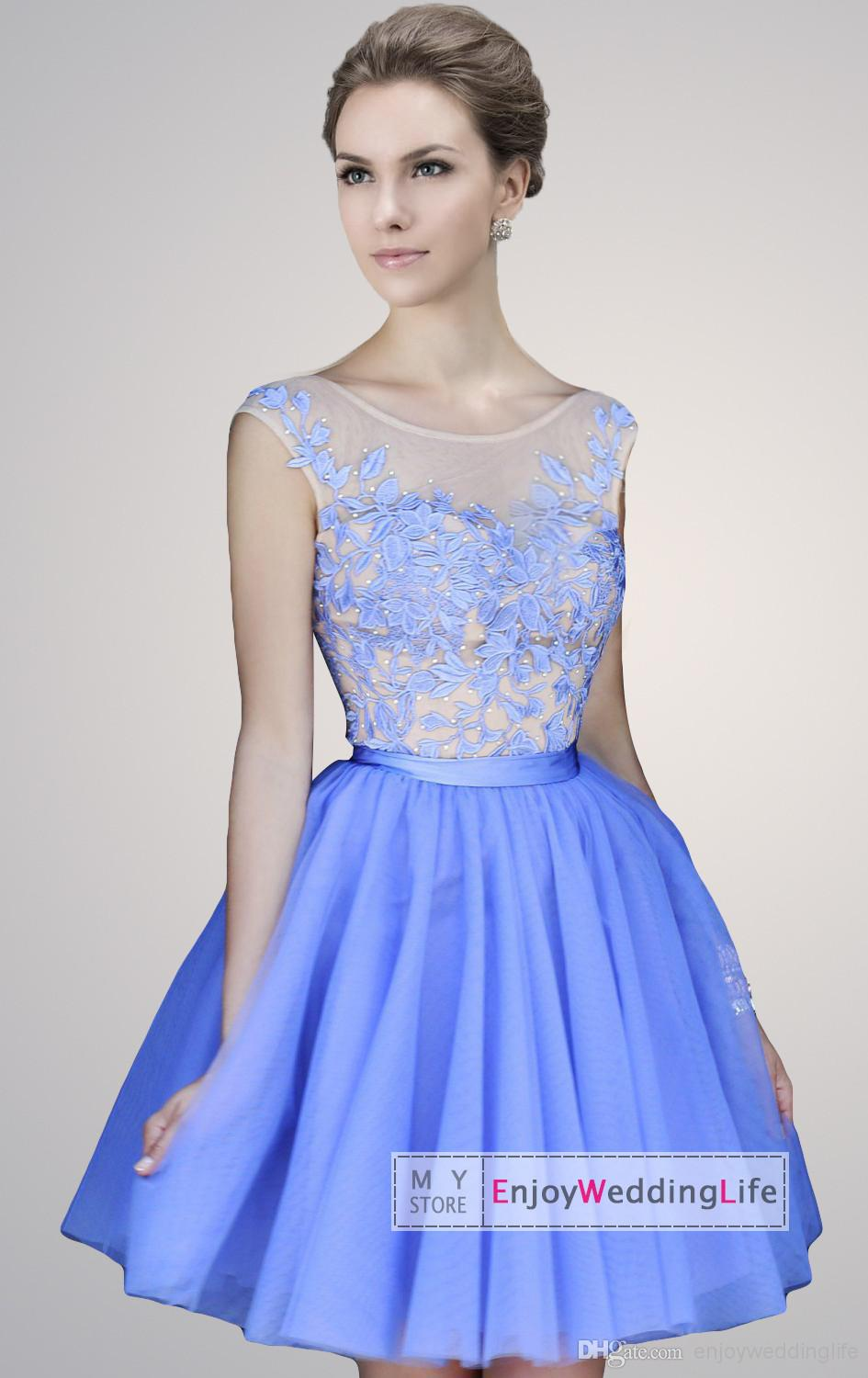 Discount 2015 New Sexy Scoop Collar Tulle Short Homecoming Dresses Lace Applique Beaded Mini Backless Party Cocktail Gowns SH11171 Online with $100.53/Piece | DHgate