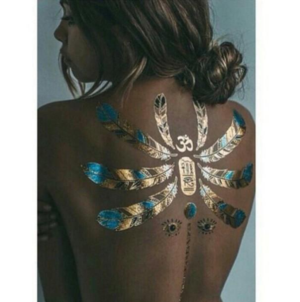 Make-up: tattoo, temporary tattoo, fake tattoos, gold ...