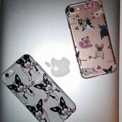 phone cover,yeah bunny,frenchie,dog,glitter,cute,silver,ilovedog,iphone case,cover