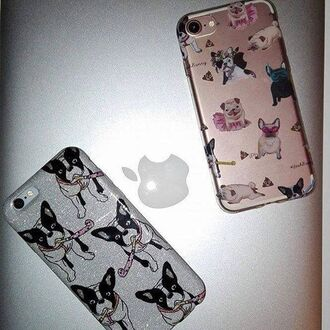 phone cover yeah bunny frenchie dog glitter cute silver ilovedog iphone case cover
