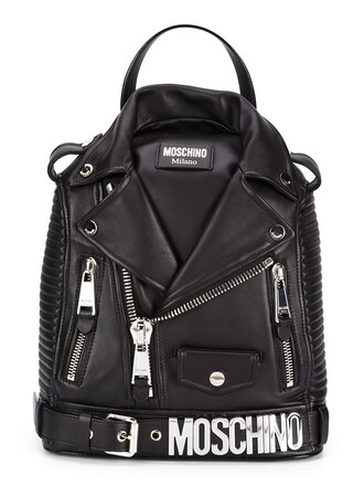 metal women backpack leather black bag