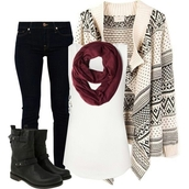 sweater,scarf,burgundy,printed sweater,t-shirt,leather,boots,shoes,jeans,tank top,boho,hipster,indie,soft grunge,azte,black boots,maroon infinity scarf,skinny jeans,cardigan,top,blouse