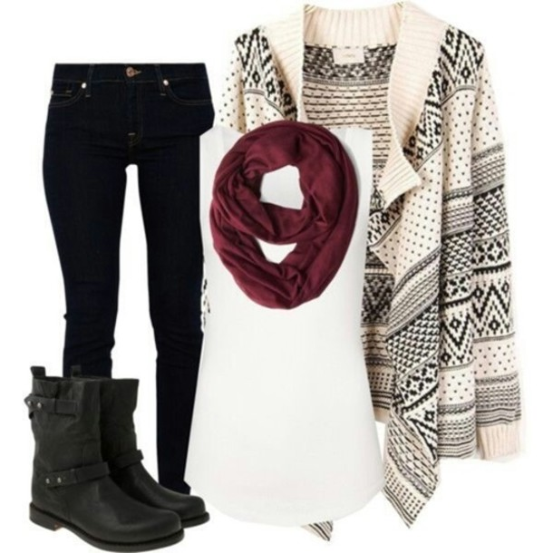 sweater scarf burgundy printed sweater t-shirt leather boots shoes jeans tank top boho hipster indie soft grunge azte black boots maroon infinity scarf skinny jeans cardigan blouse