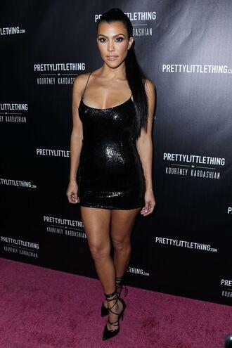 dress mini dress black dress black all black everything pumps sequins sequin dress kourtney kardashian kardashians bodycon dress