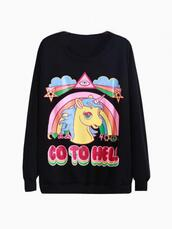 sweater,go to hell,black,sweatshirt,kawaii,rad,unicorn,rainbow,ulzzang,gyaru,soft grunge,grunge,color/pattern,colorful,winter outfits,fall outfits,clouds,shirt