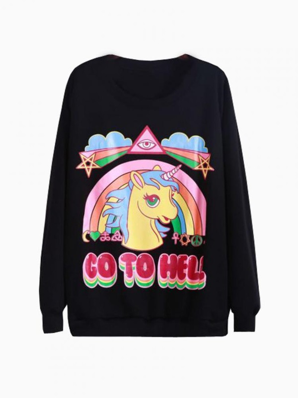 sweater go to hell black sweatshirt unicorn jacket kawaii rad rainbow ulzzang gyaru soft grunge grunge color/pattern colorful winter outfits fall outfits clouds blouse shirt