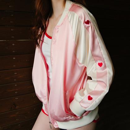 HEART CLUBPink Embroidered Heart Detail Varsity Jacket | MIXXMIX