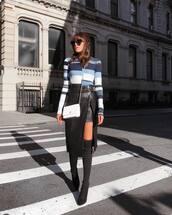 sweater,over the knee,tumblr,stripes,striped sweater,knit,bag,white bag,crossbody bag,skirt,midi skirt,slit skirt,boots,black boots,over the knee boots,sunglasses