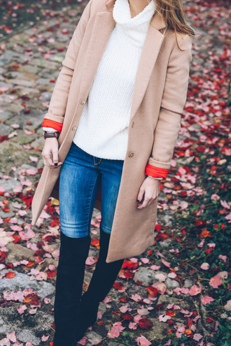 prosecco and plaid blogger jeans turtleneck camel coat suede boots black boots knee high boots