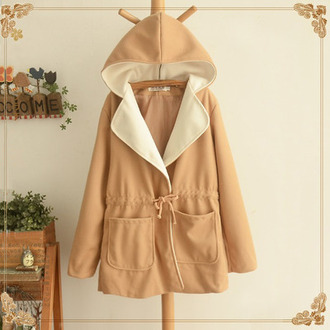 coat beige fashion jacket style long sleeves hoodie pockets raincoat winter outfits clothes fall outfits
