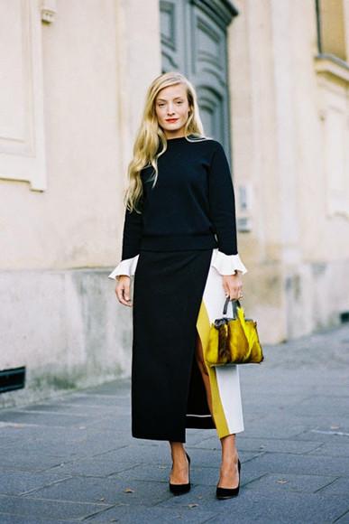 bag ruffle blogger fall outfits vanessa jackman yellow