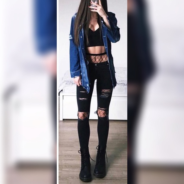 c569fe240e8a8 jacket cute sexy jeans fishnet tights crop tops ripped jeans