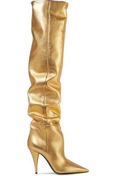 SAINT LAURENT - Kiki Metallic Leather Over-the-knee Boots - Gold - Kiki Metallic Leather Over-the-knee Boots