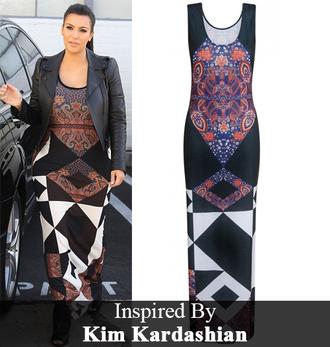 dress kim kardashian paisley aztec maxi dress gorgeousmode.com