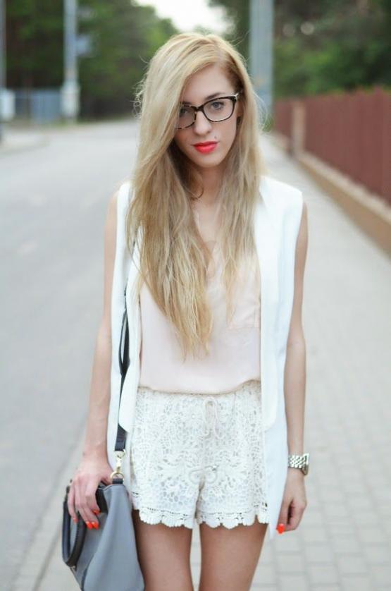 Lace white lace up shorts