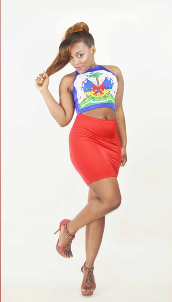 Dress Haitian Haitian Flag Blue Shirt Blue Red Red Skirt Flag