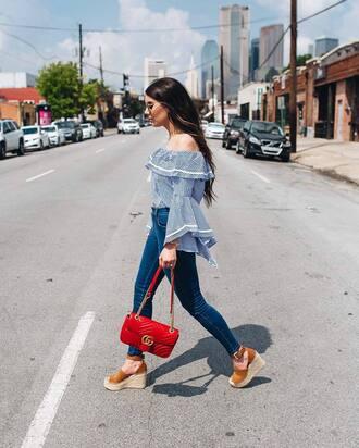 top tumblr blue top off the shoulder off the shoulder top bell sleeves bag red bag denim jeans skinny jeans sandals wedges wedge sandals shoes