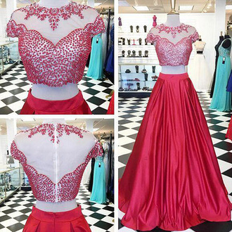 dress prom prom dress red red dress red prom dress maxi dress maxi special occasion dress floor length dress bridesmaid two piece dress set two-piece crystal pattern long prom dress sexy sexy dress cute cute dress fabulous amazing gorgeous beautiful chic sweet satin fashion style stylish fashionista trendy girly girl women fashion vibe vintage summer