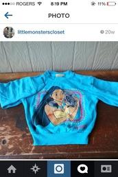sweater,Pocahontas,disney,vintage