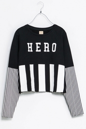shirt,hero,sweatshirt,zara,black and white,sweater