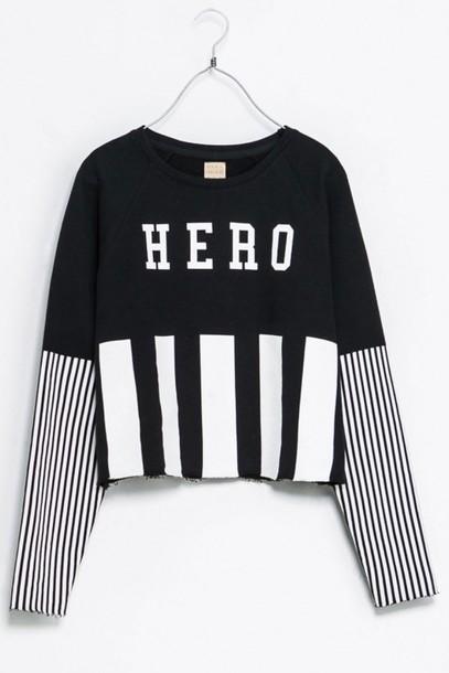 shirt hero sweatshirt zara black and white sweater
