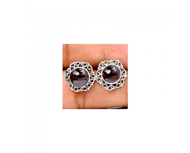 Genuine 925 sterling silver Gemstone Garnet Stud