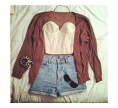 shorts,lace bustier,High waisted shorts,cardigan,gold jewelry,sweater,shirt,blouse,rouge,gilet,top,jewels,necklace,bracelets,jeans,outfit,hair accessory,earphones,blue high waisted shorts,light blue shorts,fall outfits,boustier