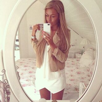 jacket nude nude jacket fall outfits white skirt love wwant