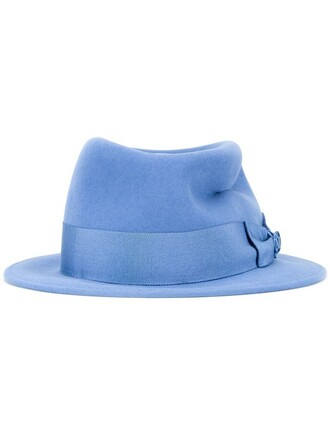 bow hat fedora blue