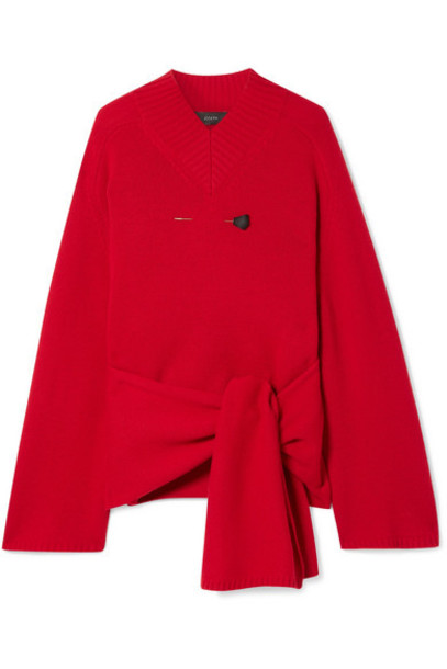 Joseph - Oversized Embellished Tie-front Wool Sweater - Red