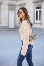 sweater,tumblr,nude sweater,bag,gucci,gucci bag,chain bag,denim,jeans,blue jeans,sunglasses,cat eye,spring outfits