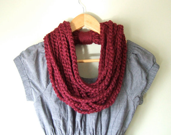 Oxblood Scarf Necklace .. Dark Red Scarf .. Crochet by DottieQ