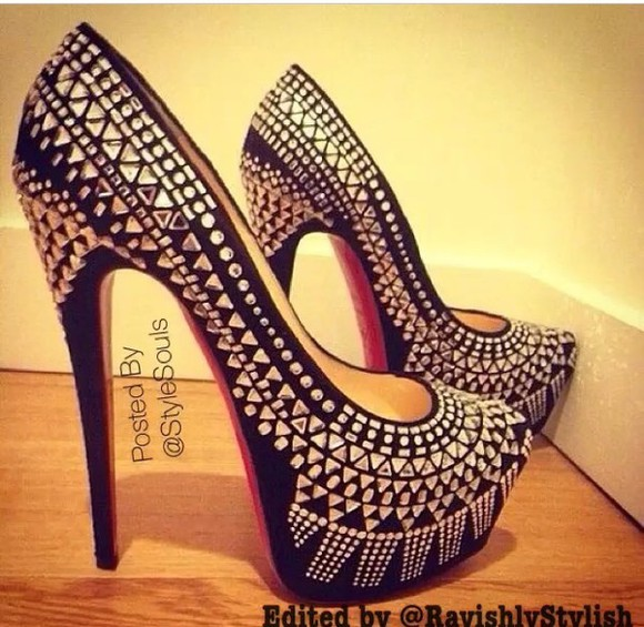 shoes studded shoes black high heels