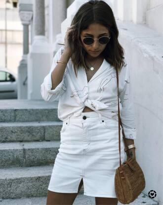 skirt tumblr mini skirt denim skirt white skirt bag shirt white shirt