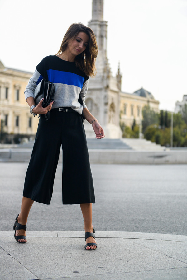 lovely pepa blogger bag pants black culottes black pants culottes top striped top black bag high heel sandals sandals black sandals spring outfits