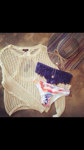 swimwear blue multi colored hat sweater holidays summer