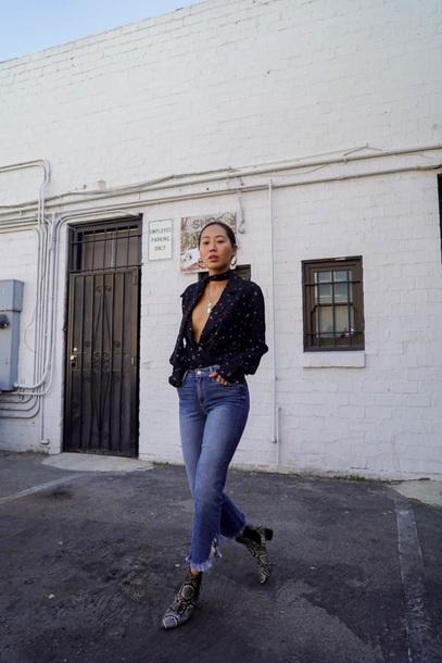 blouse black blouse top black top denim blue jeans boots v neck plunge v neck jeans