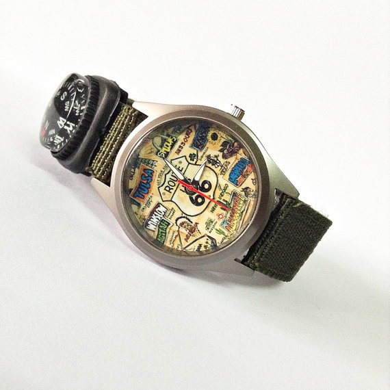 Route 66 Watch America Road Map Watch Compass Watch by FreeForme