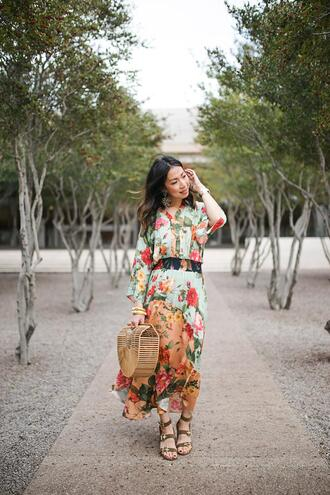 dress styleofsam shorts blogger jewels bag shoes maxi dress cult gaia bag sandals printed dress floral dress spring outfits spring dress